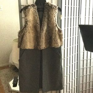 Beautiful long line faux fur vest